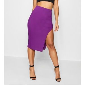 Purple midi skirt with thigh split